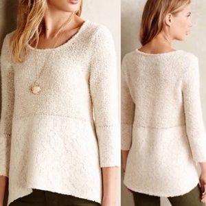 Anthropologie Felt Lace Overlay Sweater